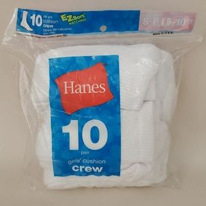 Hanes Girls crew socks Toddler size Small 6-10 new